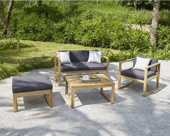 MOA Salon de jardin 4 places en bois d\'acacia pas cher ...