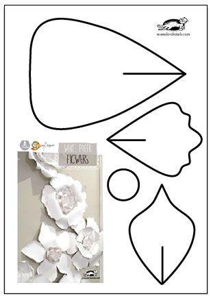 White Paper Flowers krokotak ЦВЕТЫ СВОИМИ РУКАМИ Pinterest - white paper template