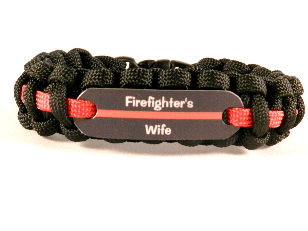 Wife Of A Firefighter Thin Red Line Paracord Bracelet