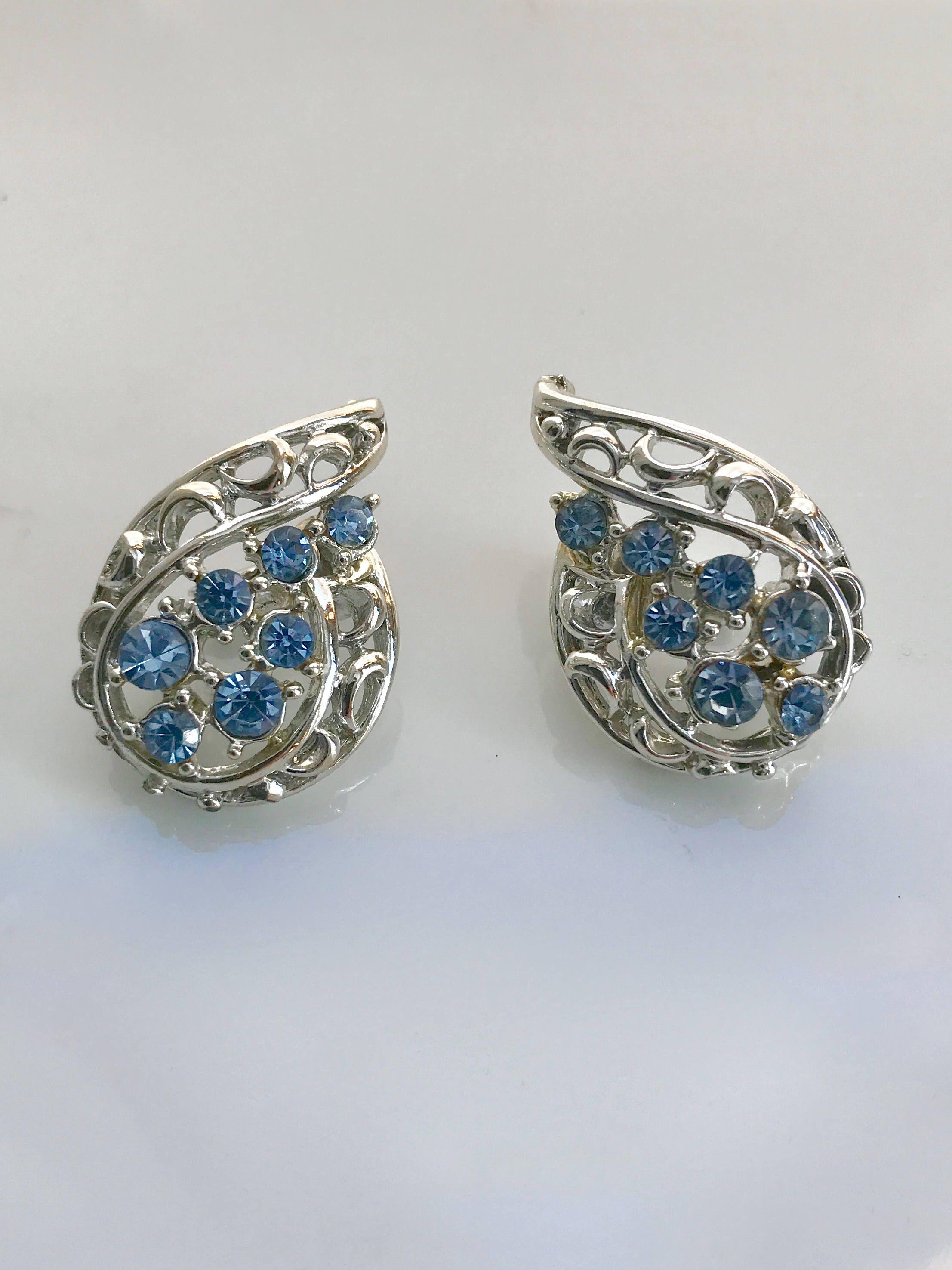 Coro crystal rhinestone blue ice clip earrings mid century designer