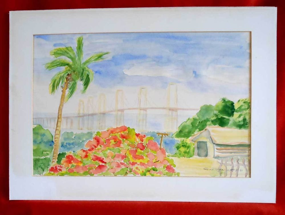 Vintage Watercolor Painting Napp 81 Old Florida Frame Tropical ...