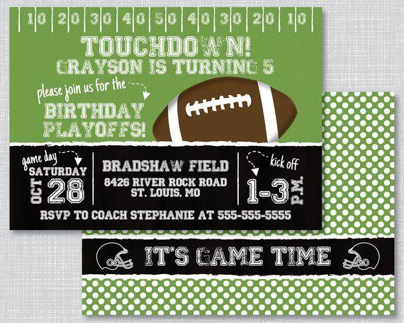 Football Birthday Party Football Invitations Football Birthday
