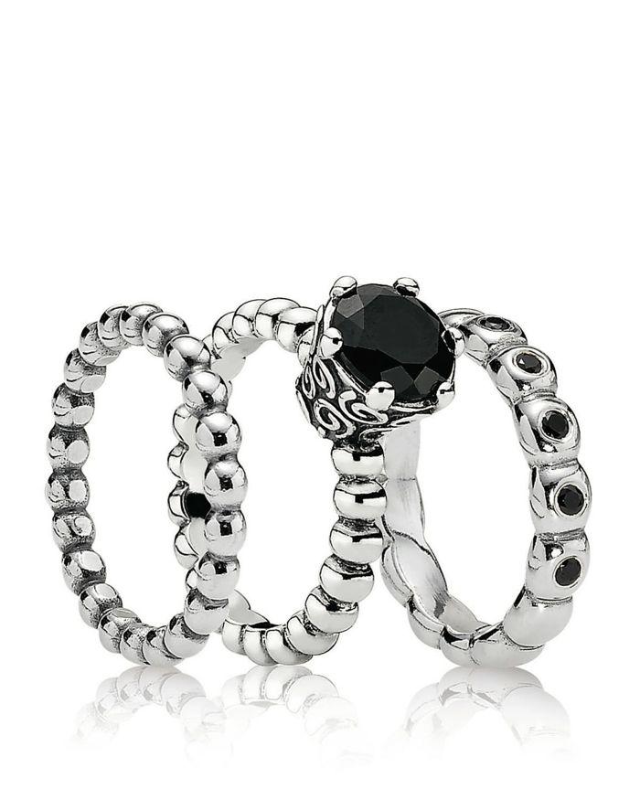 Pandora schmuck silberringe schwarzer Stein Silber