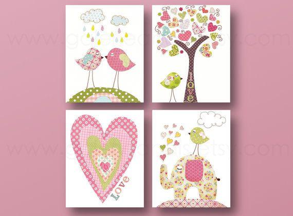 Menina Nursery Impressão artística berçário arte do berçário do bebê caçoam a arte berçário arte árvore elefante do coração dos pássaros árvore amor Conjunto de 4 impressões