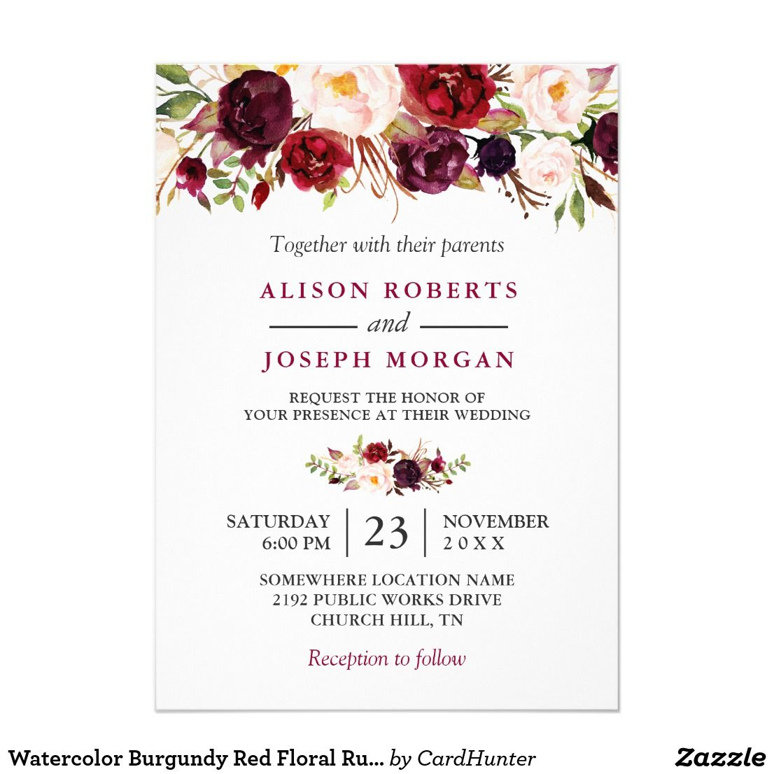 Watercolor Burgundy Red Floral Rustic Boho Wedding Custom Diy