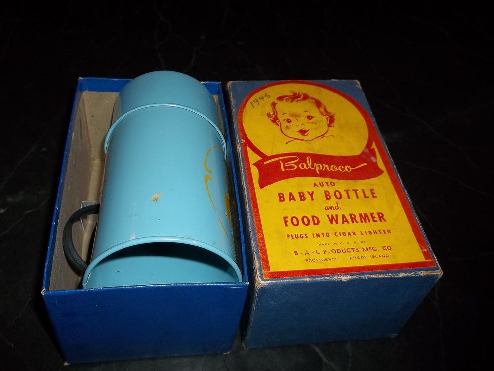 vintage baby bottle food warmer balproco product w box great picture 1945