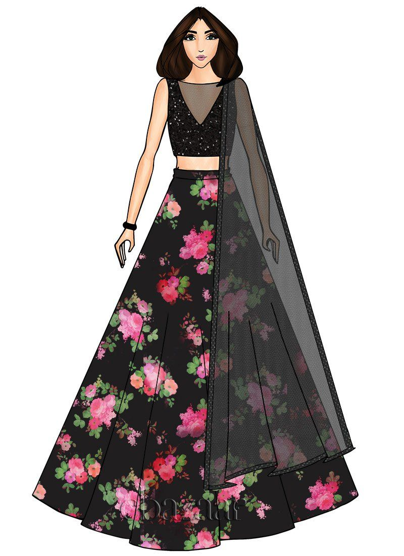 Buy plunge black printed organza lengha sequins umbrella lehenga