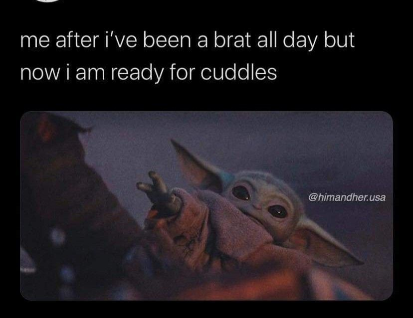 Pin By Stacie Schlesinger On Baby Yoda Funny Babies Cuddle Pictures Cuddling Meme