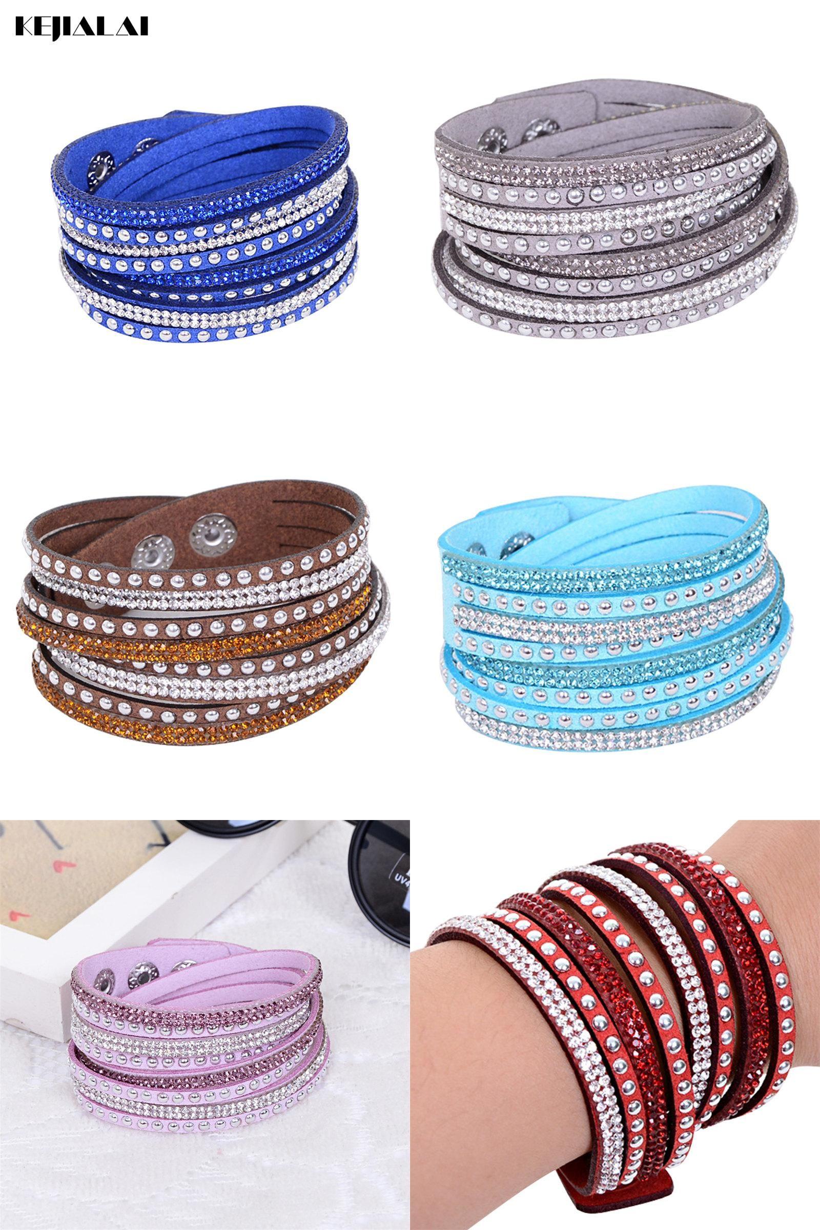 Visit to buy wrap bracelet for women leather crystal bracelet with
