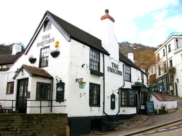 The Unicorn Pub, Great Malvern. Leaving the pub one night with J.R.R. Tolkien, C.S. Lewis was inspired by a gas lamp glowing in the snow to write the chronicles of Narnia.