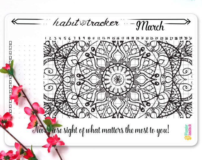 Habit Tracker Coloring Sticker March 2017 • Mandala Coloring Page ...