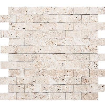"Parvatile Split Face 1"" x 2"" Stone Mosaic Tile in Ivory"