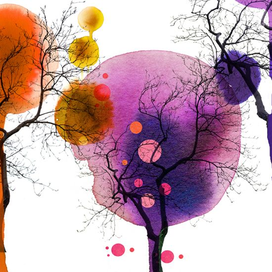 """how easy would this be to do? Over black and white clip art? loving dots of watercolors to create """"leaves""""? love it."""