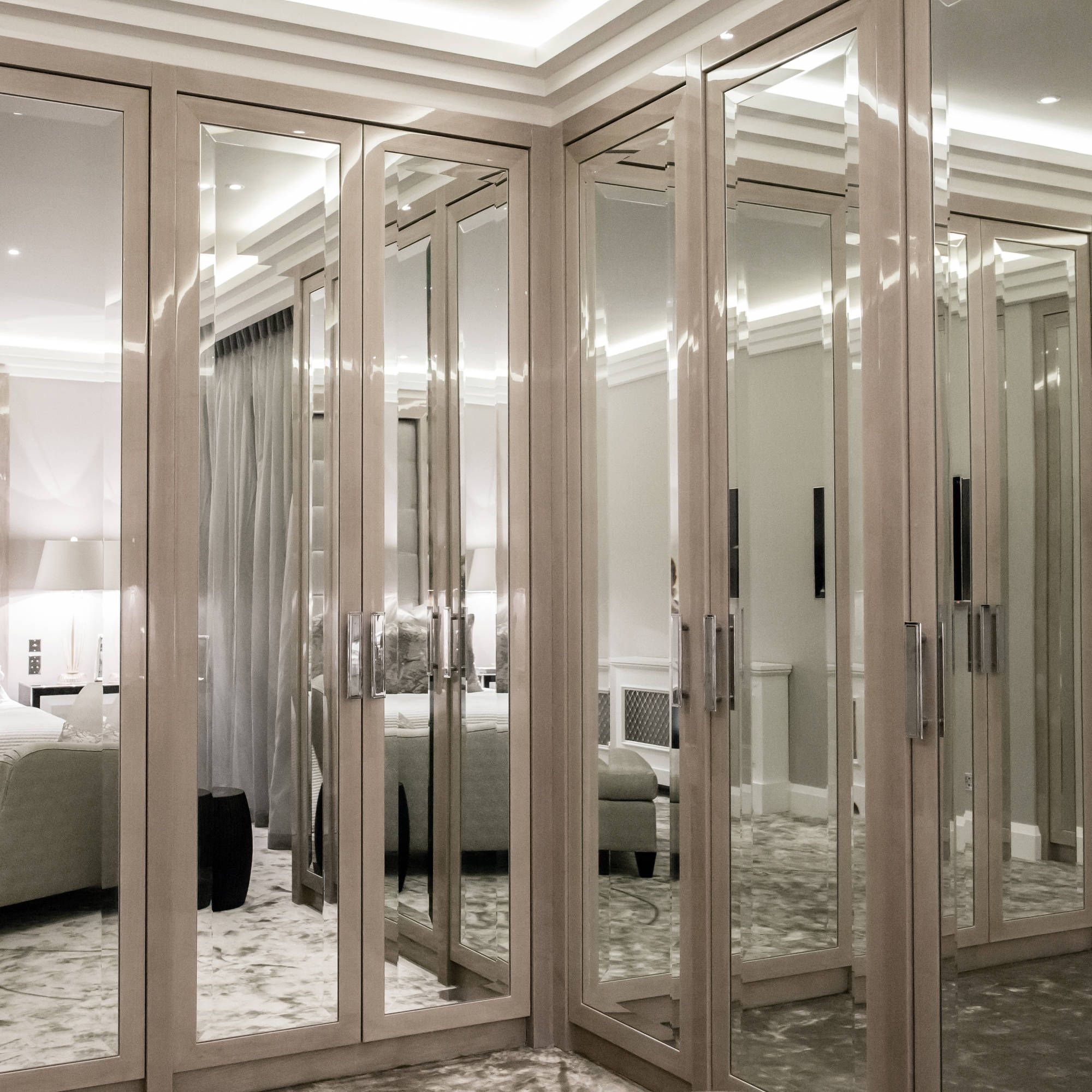 Dressing Room with Three way Mirror Walk In ClosetCloset DoorsCloset