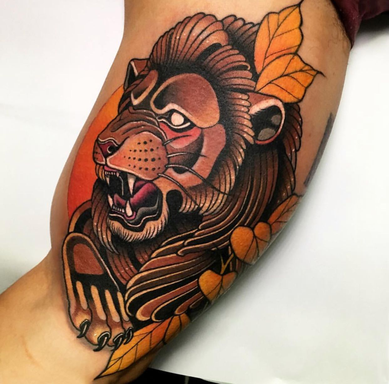 Neo Traditional Lion Tattoo By Andre Limited Availability At Redemption Tattoo Studi Traditional Lion Tattoo Traditional Tattoo Design Neo Traditional Tattoo