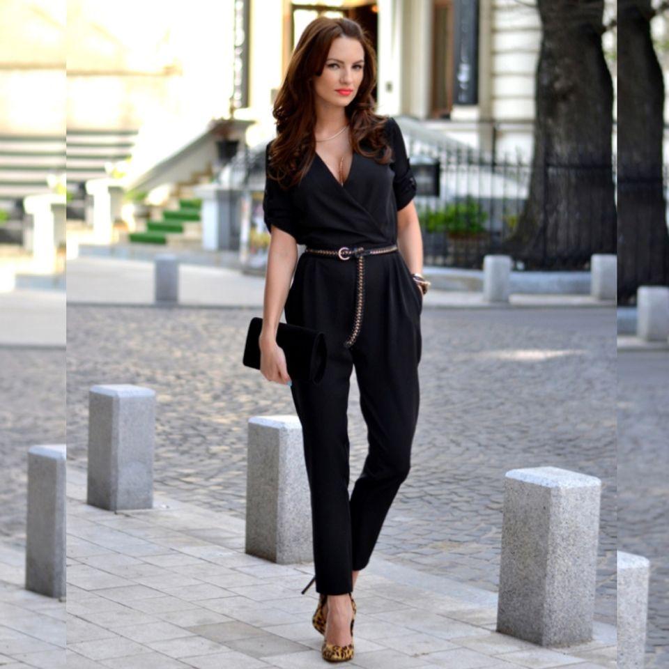 336979ba61d Black jumpsuit and animal print shoes