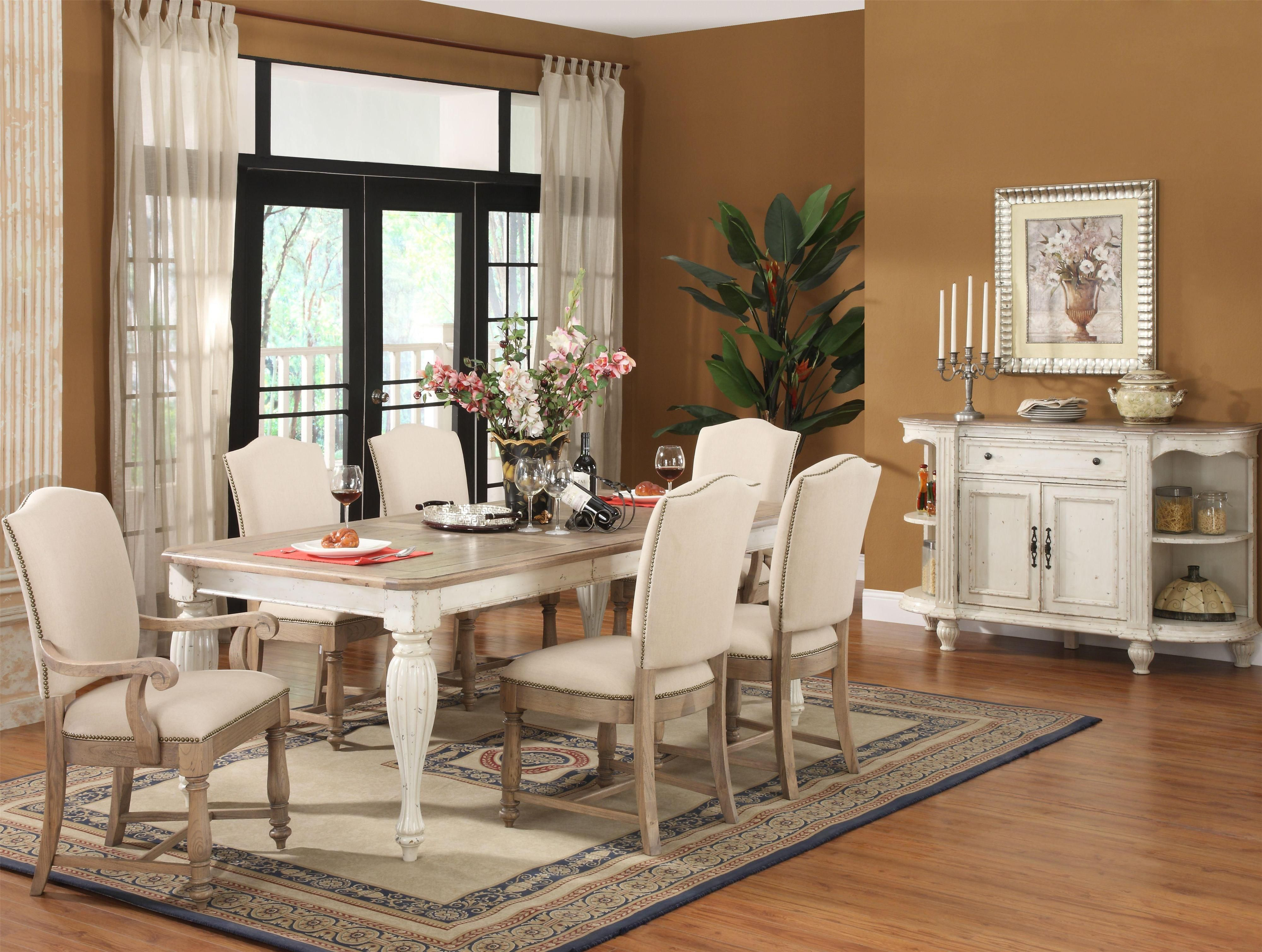 Riverside Furniture Coventry Two Tone Rectangular Dining Table In Weathered  Driftwood And Dover White