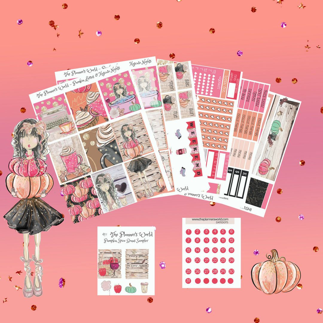 Pumpkin spice Deluxe kit Standard VERTICAL PLANNER Stickers
