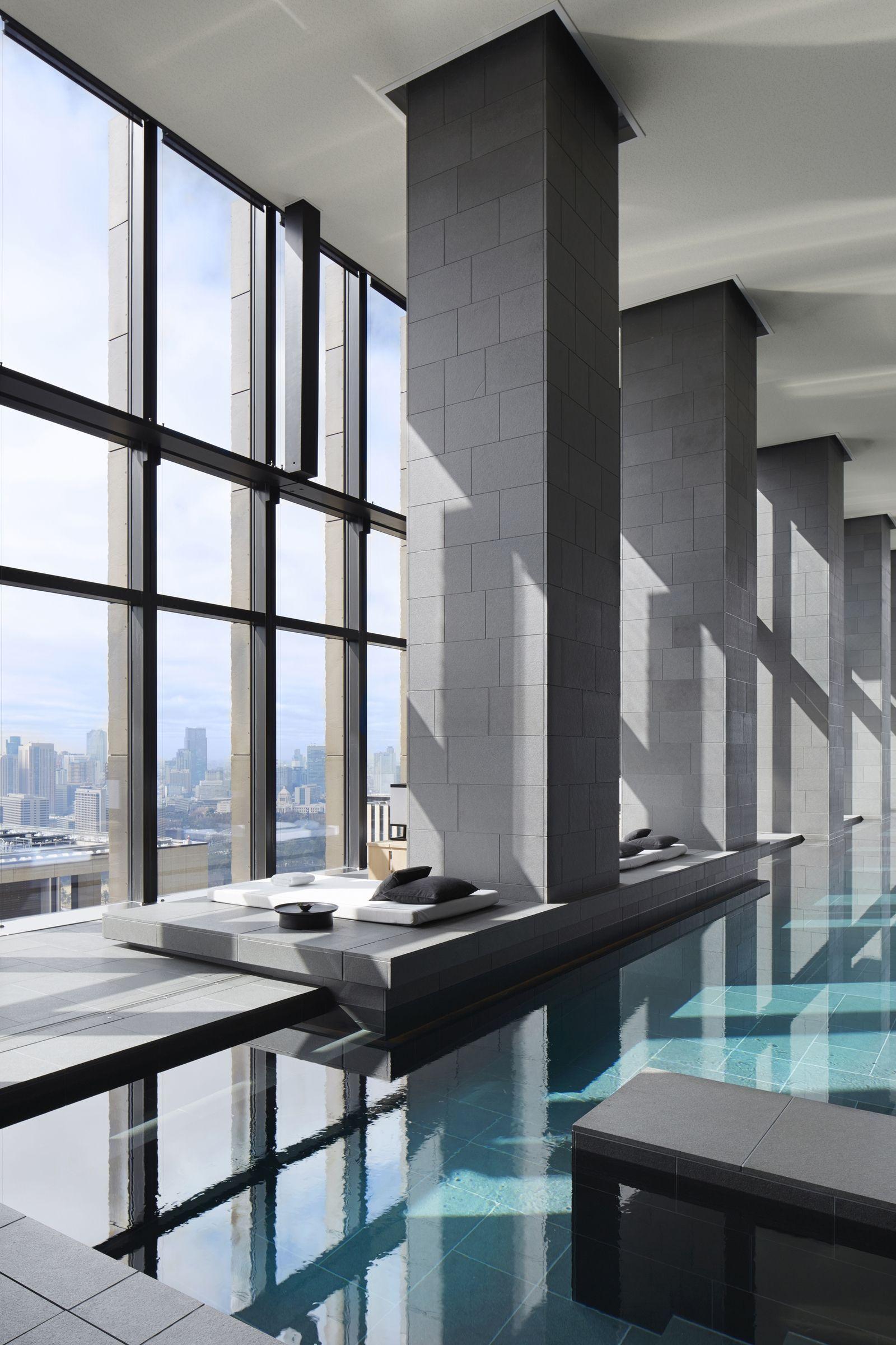 Four seasons shangai chine piscine piscine intérieure panorama