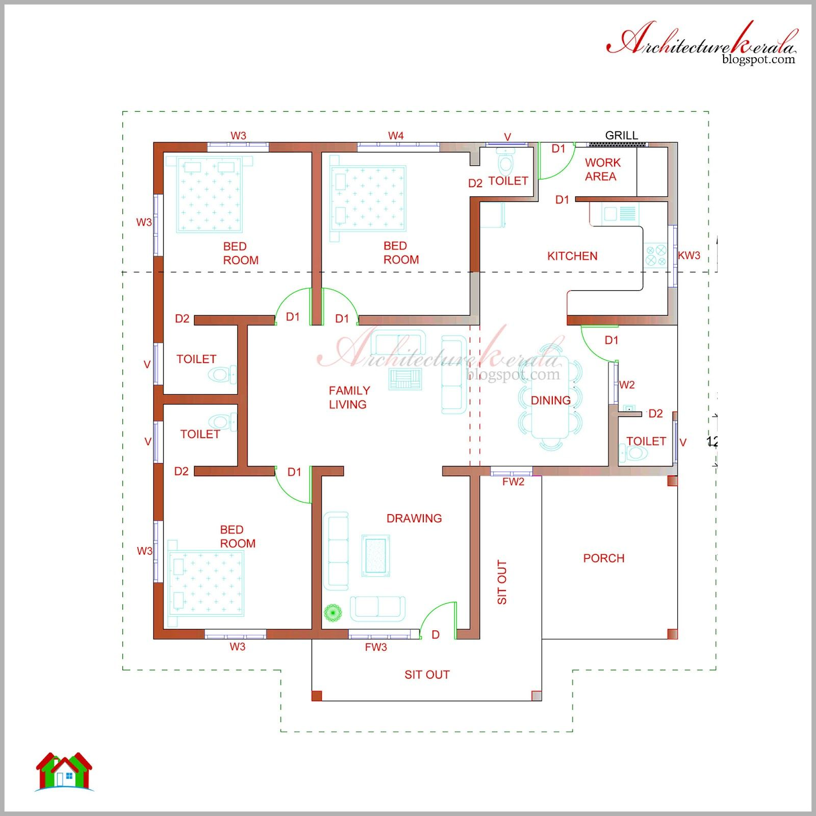 Architecture Kerala Beautiful Kerala Elevation And Its Floor Plan Basement House Plans House Plans With Photos Open Floor House Plans