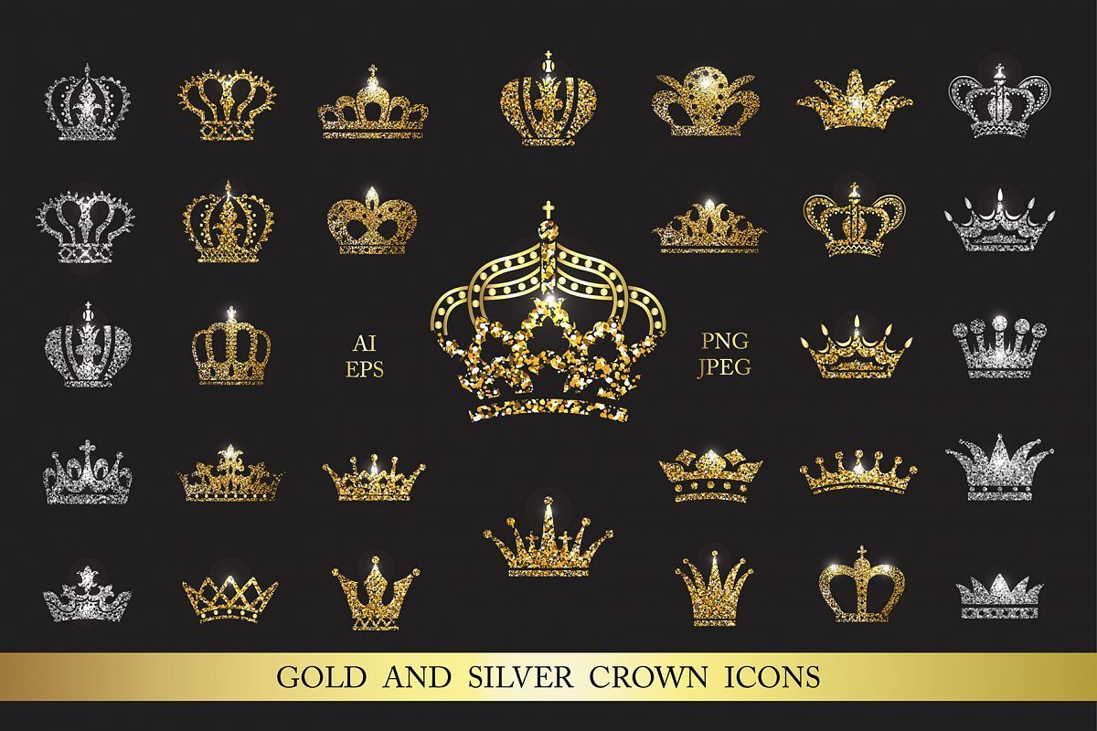 Set of gold and silver crown icons Graphic design