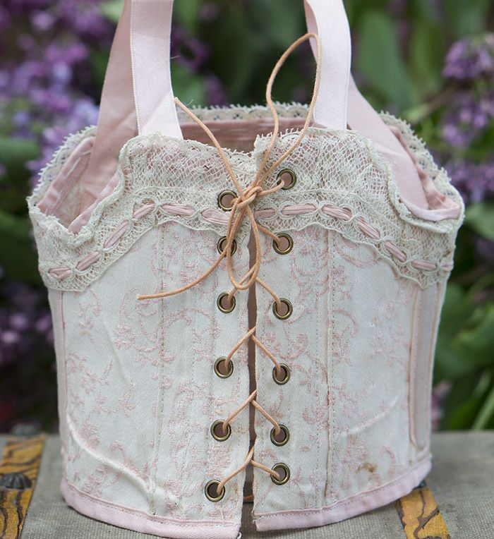 Antique French Boned Pale Pink Cotton & Silk Bebe doll Corset Stay w/lace and Grommets #dollunderware