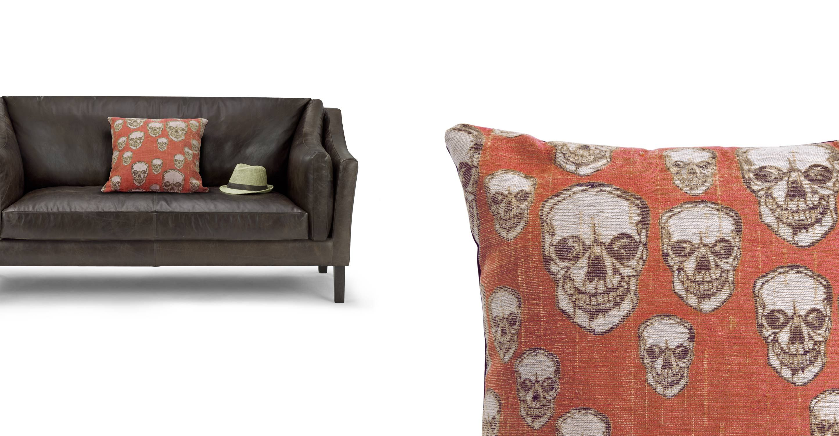 Hendrix Skull Pattern Scatter Cushion 50 x 50cm Orange YUM