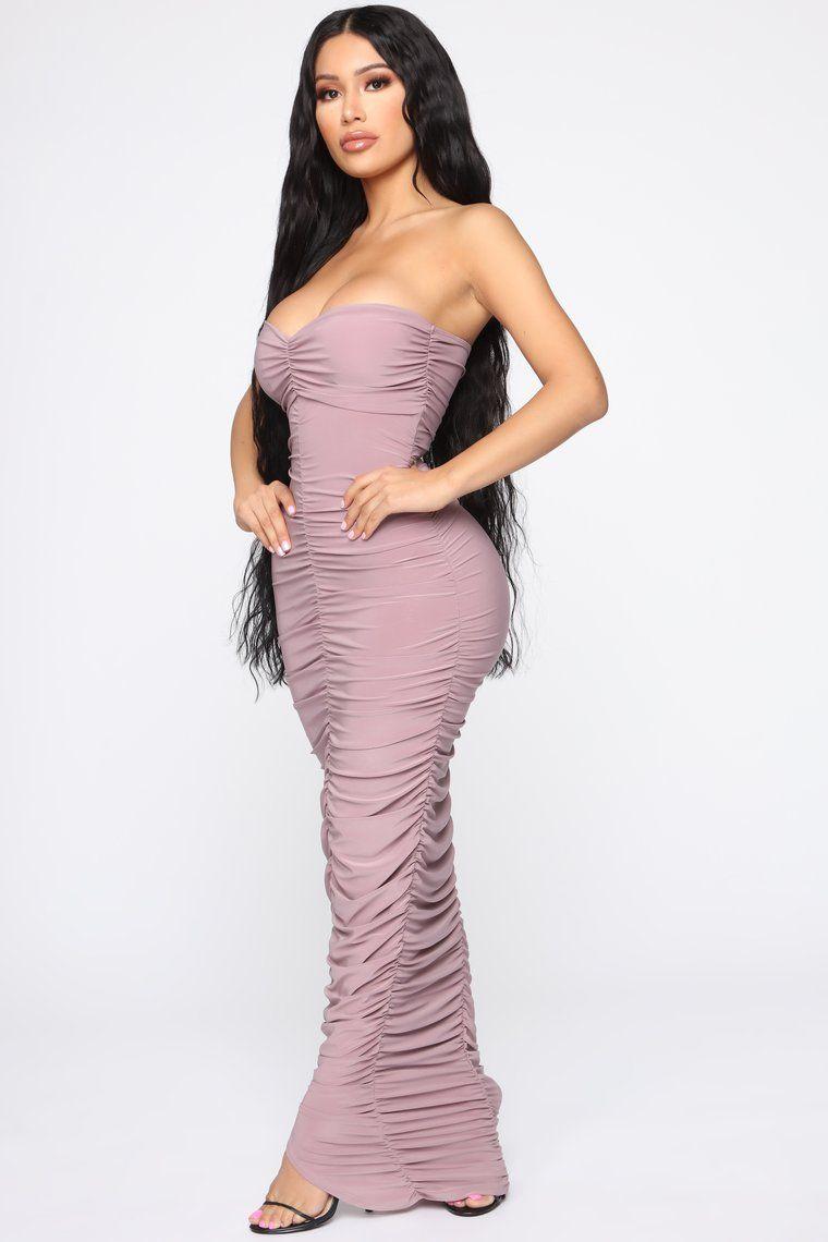 Alandra Ruched Maxi Dress Mauve Dresses, Maxi dress