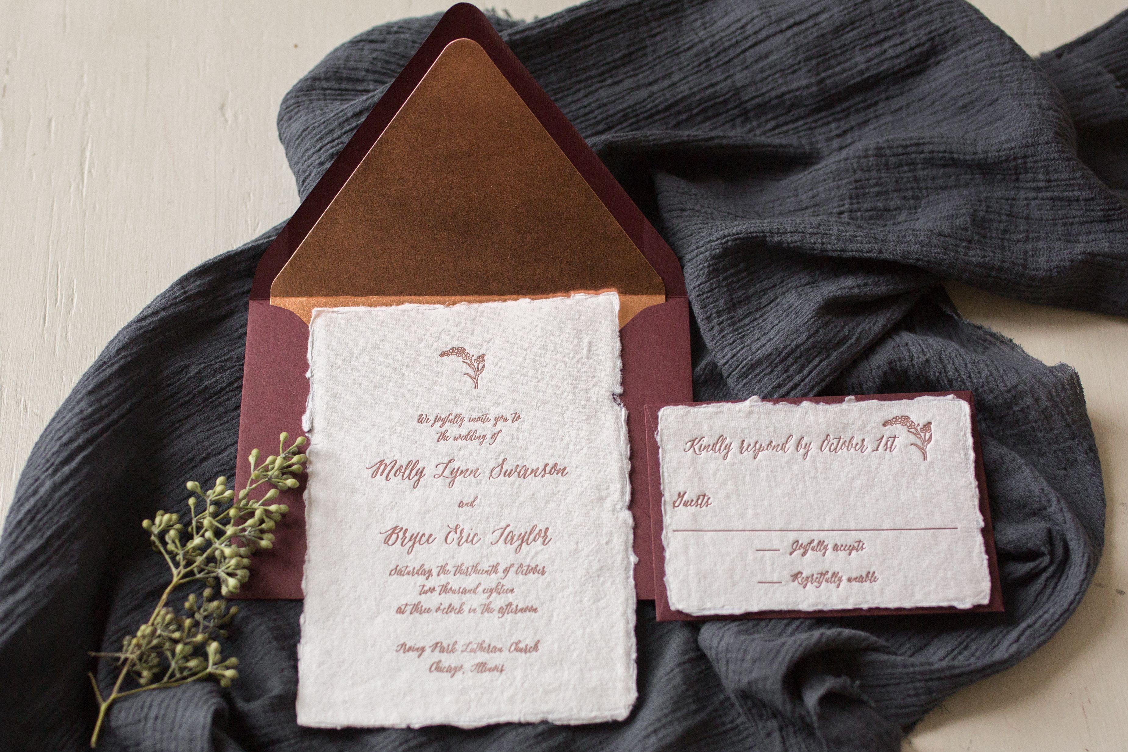 Torn Edge Wedding Invitation Letterpress Printed On Handmade Paper