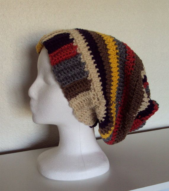 Crocheted Doctor Who Inspired Tom Baker Scarf Hat - Slouchy Hat ...