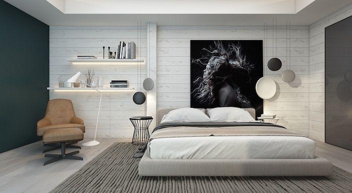 Zimmer Deko Ideen, Weißes Schlafzimmer Mit Schlichtem Design Mit Einem  Schwarzen Ausgefallenen Bild Dekorieren,