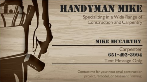 Handyman Mike Business Card Design для работы Pinterest - Handyman business card template