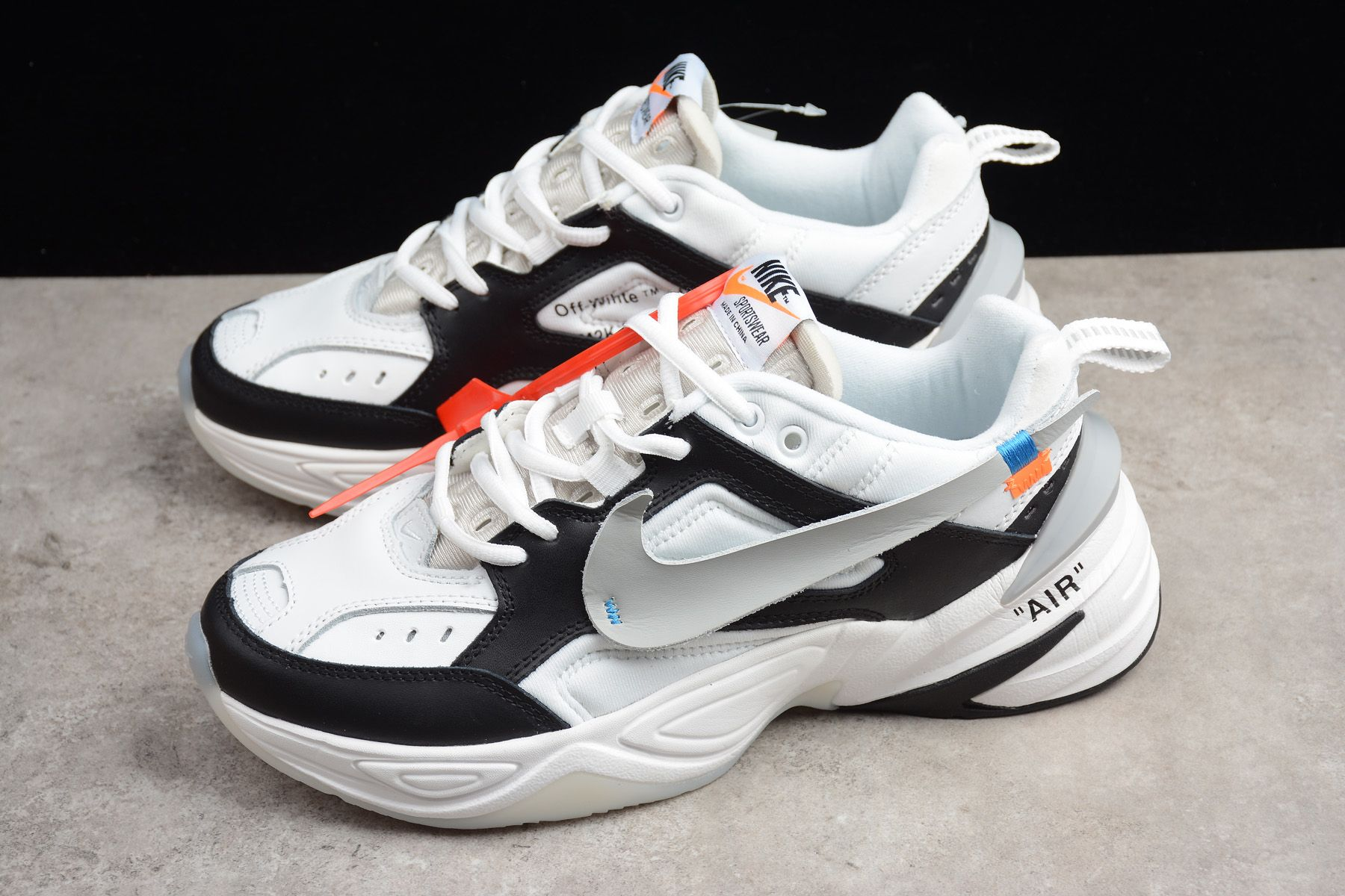 2018 Off White X Nike M2k Tekno Black White Grey Men S And Women S Size A03108 062 Sneakers Leather Shoes Woman Sneakers Fashion