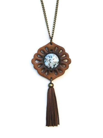 Boho Pendant Tassel Round Granite Leather Punched by karenkell, $72.00