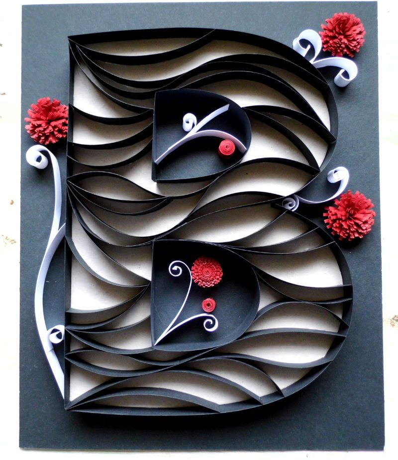 Paper quilled initial b wall decor 8x10 by eighthandmain for Deco quilling