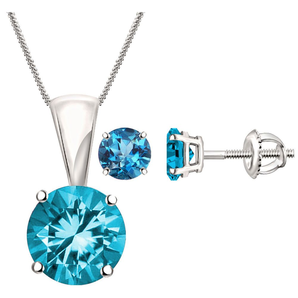 Aquamarine solitaire pendant u earrings set prong in k white