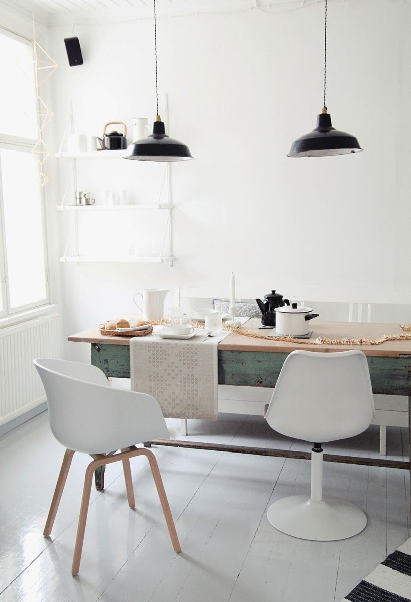 Black White Dining Room Minimalism Scandinavian