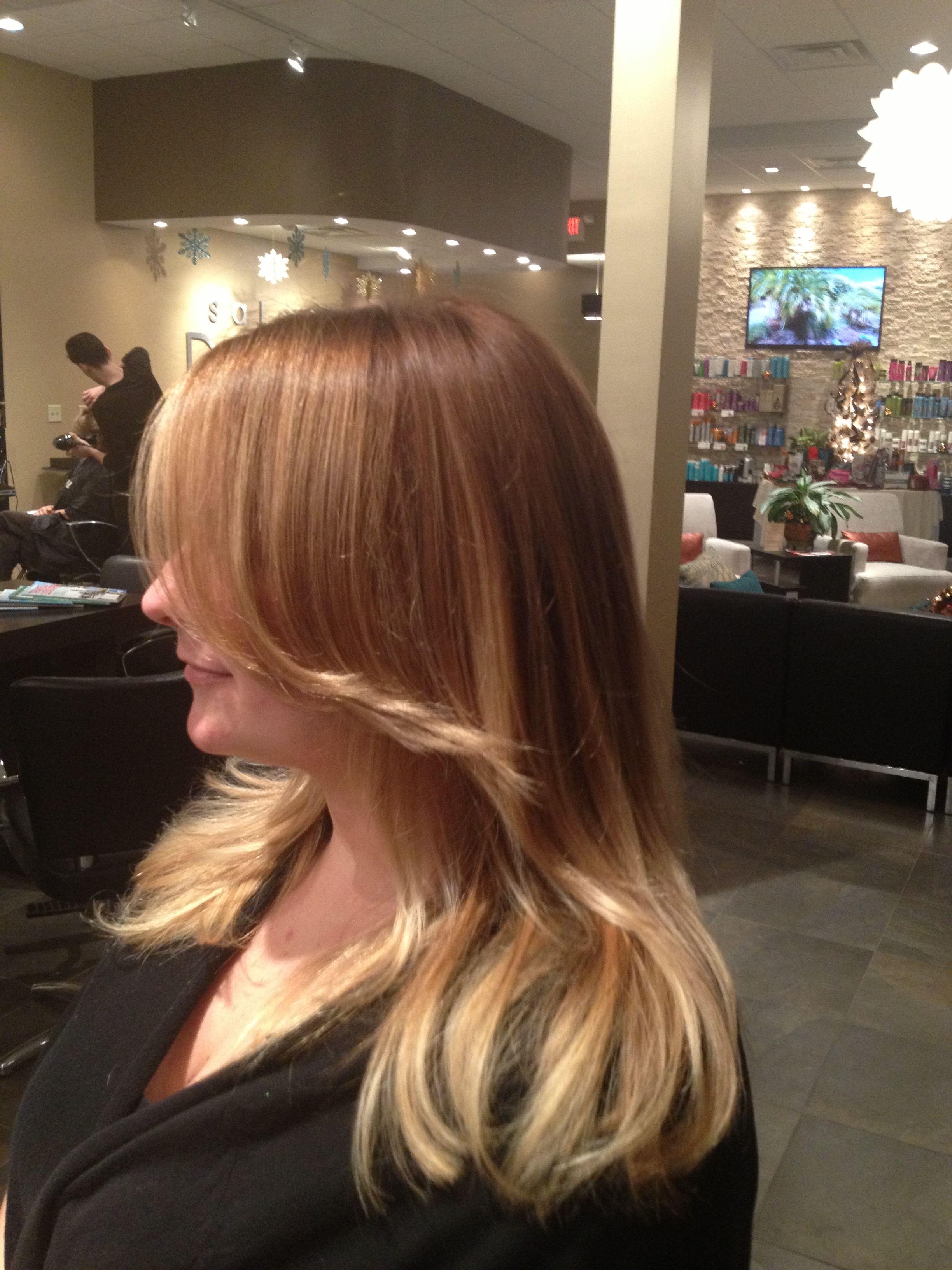 Copper blonde base Redken 6gg 7c shades Subtle ombré to blonde glaze