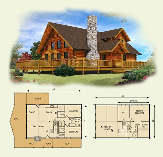 lakefront log home and log cabin floor plan 131225 - Lake Front Home Designs