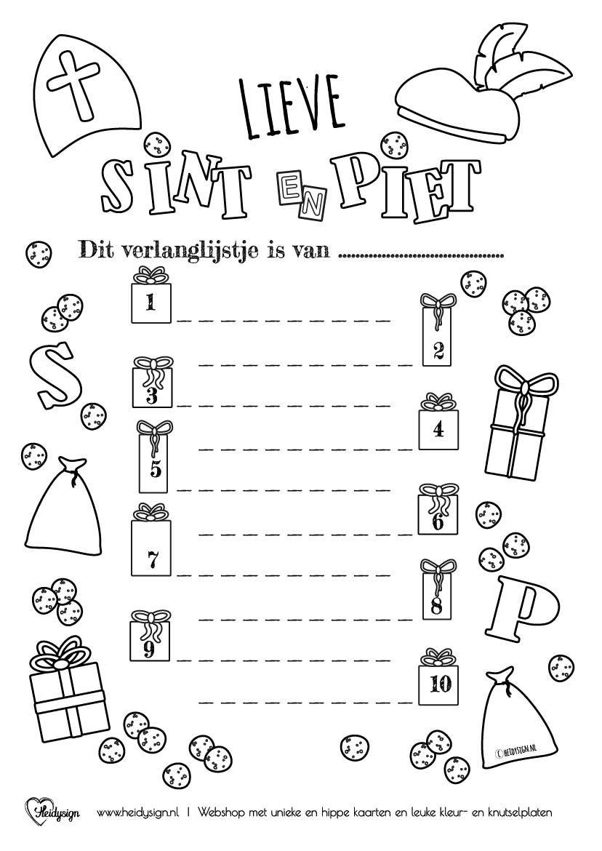 Sinterklaas Kleurplaat Verlanglijstje Sinterklaas Kaarten Kleurplaten