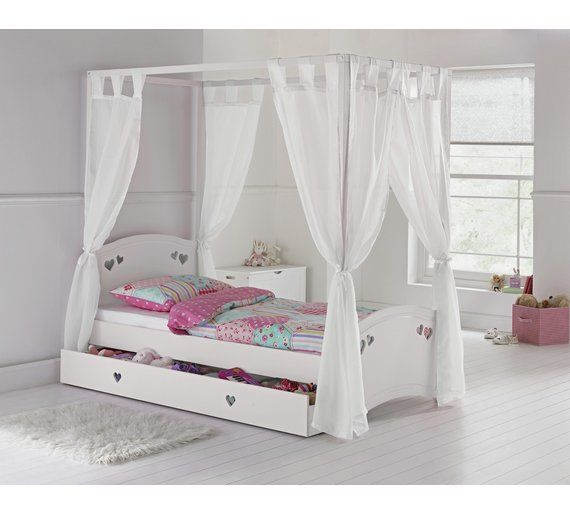 Buy collection mia four poster bed with elliott mattress for White bedroom furniture argos