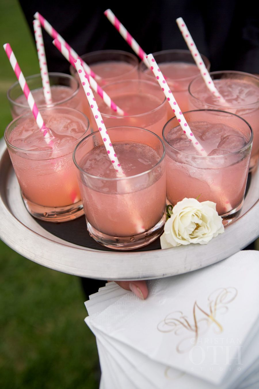 Have a signature drink with cute straws and monogrammed napkins at your bridal shower! #romance #marriage #wedding #bridalshower #weddingshower