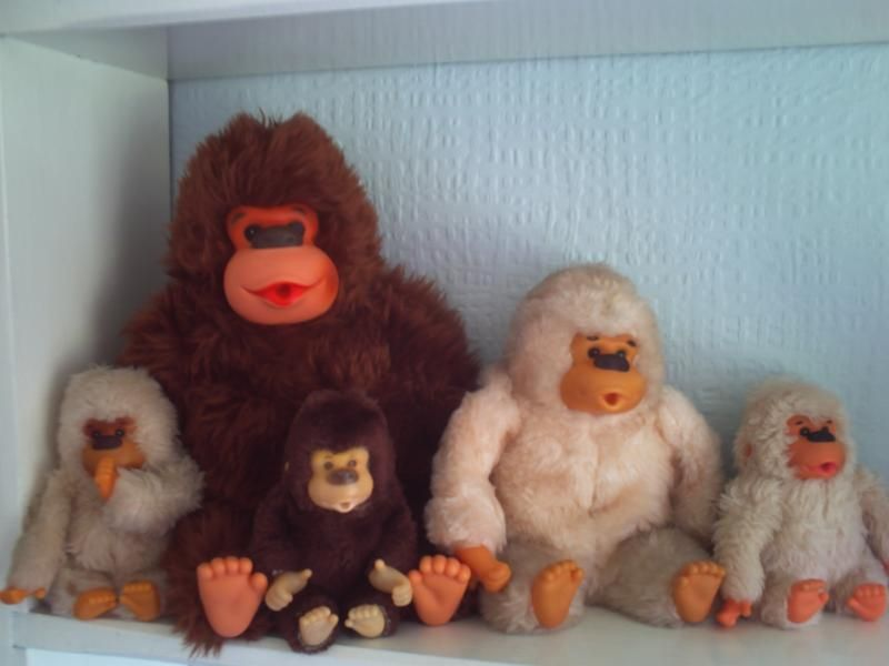 Thumb sucking, stuffed gorilla toy from the 80's. I had white, my brother  brown