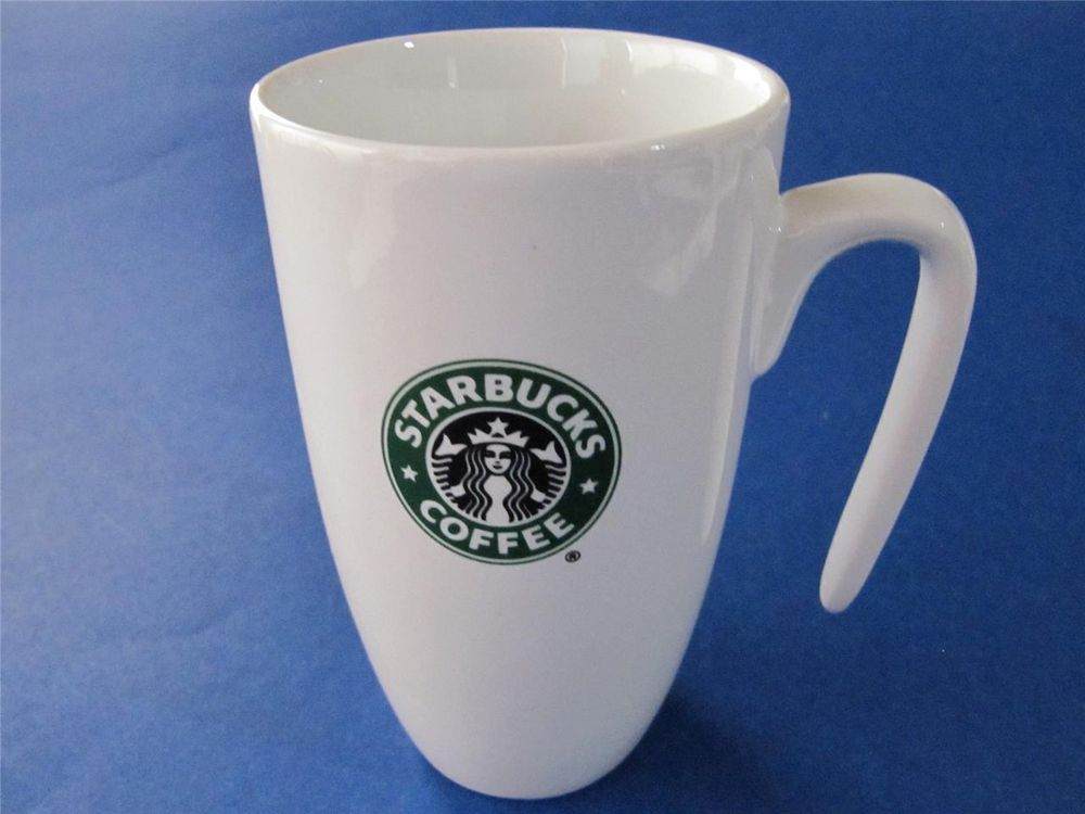 2007 White Starbucks Mermaid Logo Mug Cup with Unusual OPEN Handle