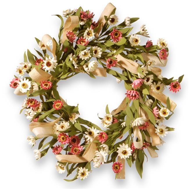 Photo of National Tree RAS-CDF62102-1 22 in. Sunflower Wreath with Small Sunflowers, White & Pink