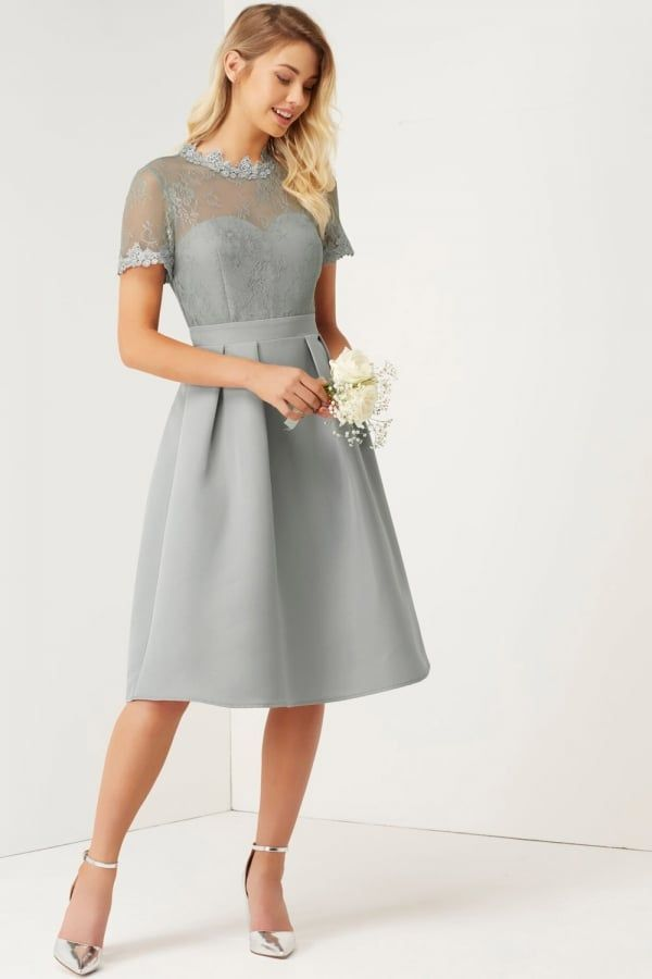03d1e3ad7153 Little Mistress Grey High Neck Lace Dress