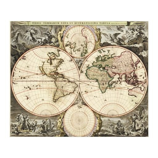 Antique World Map By Nicolao Visscher Circa 1690 Canvas Print Antique World Map Vintage Maps Map Print