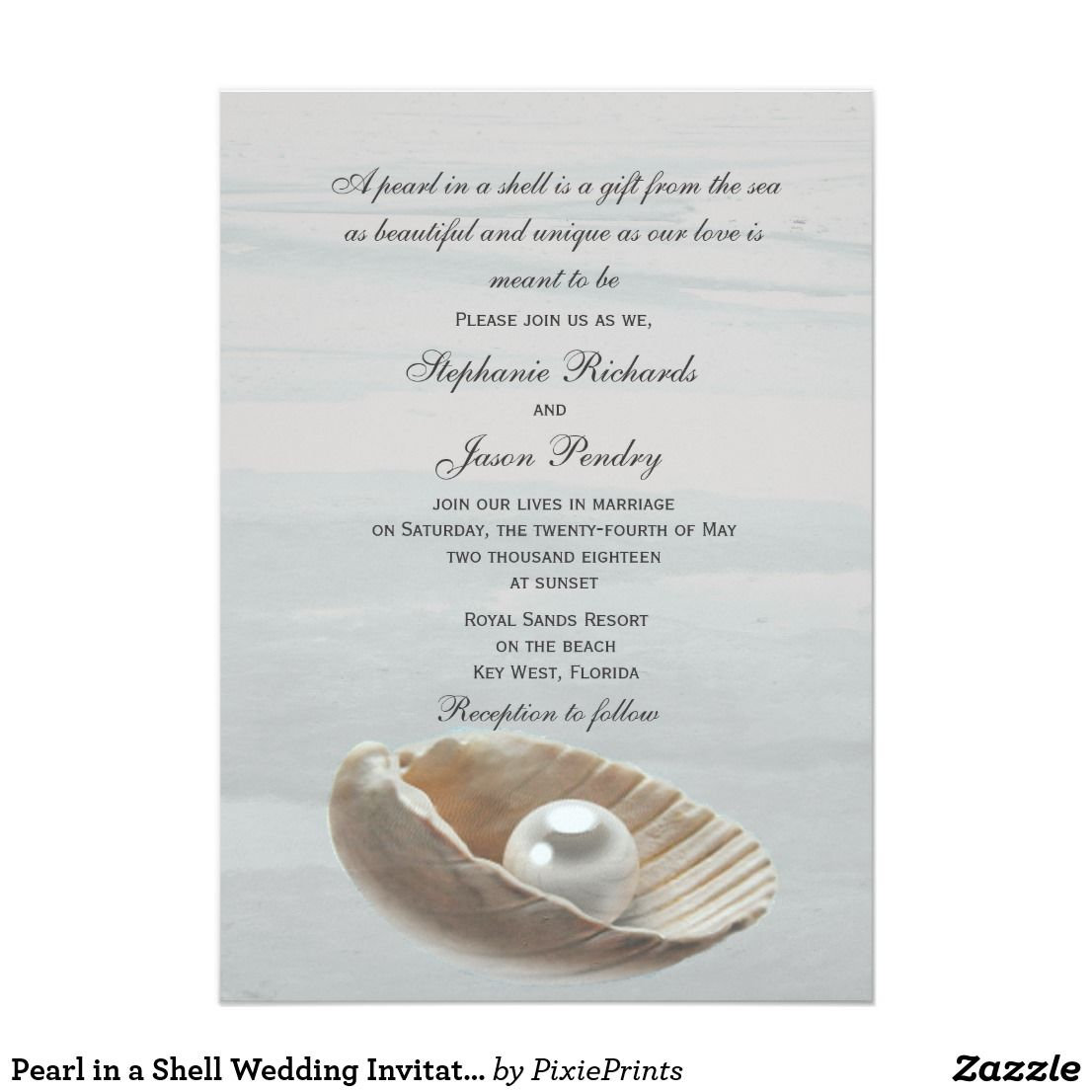 Pearl In A Shell Wedding Invitation Destination Wedding
