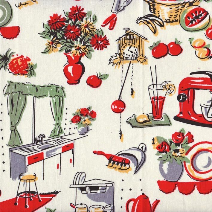 50's fabric. reminds me of wallpaper my Granny used to