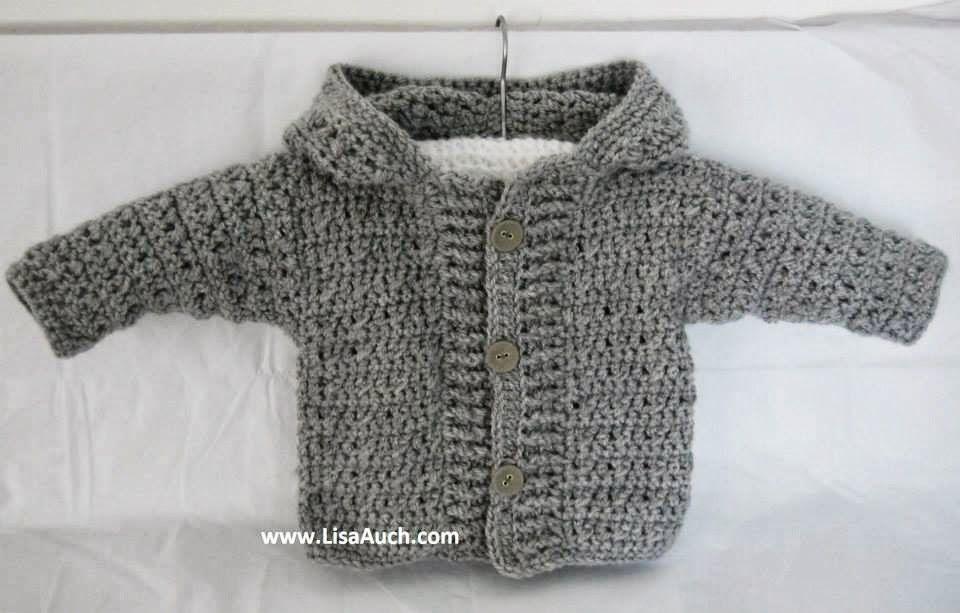 Crochet Baby Boy Cardigan pattern with hood (Easy Hooded
